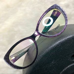 FF Logo-Print Cat-Eye Acetate Glasses